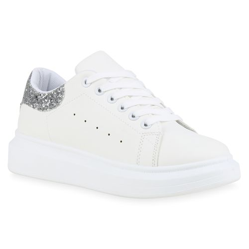 watch 1034e da2a2 Damen Plateau Sneaker - Weiß Silber Glitzer