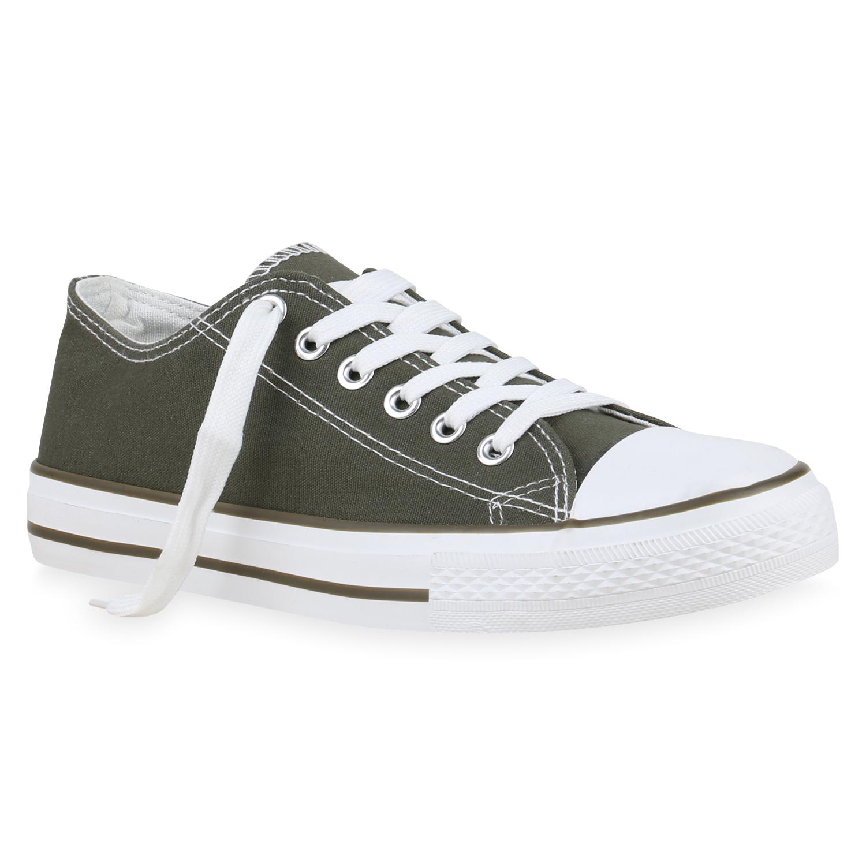 Damen Herren Sneaker Low Basic Canvas Turnschuhe Schnürer Freizeit 825813 Schuhe