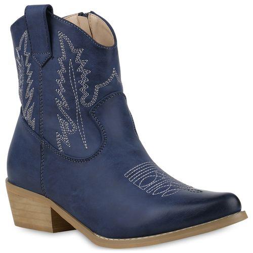 Boots Stiefeletten Damen Dunkelblau Damen Cowboy Stiefeletten TwSgOaqW