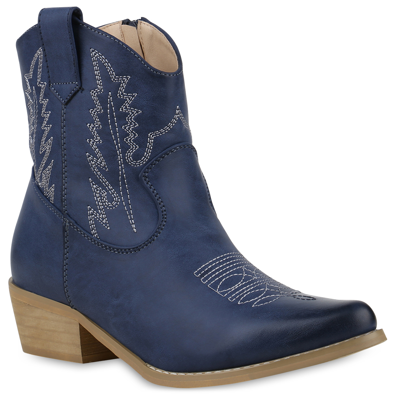 Damen Stiefeletten Cowboy Boots - Dunkelblau
