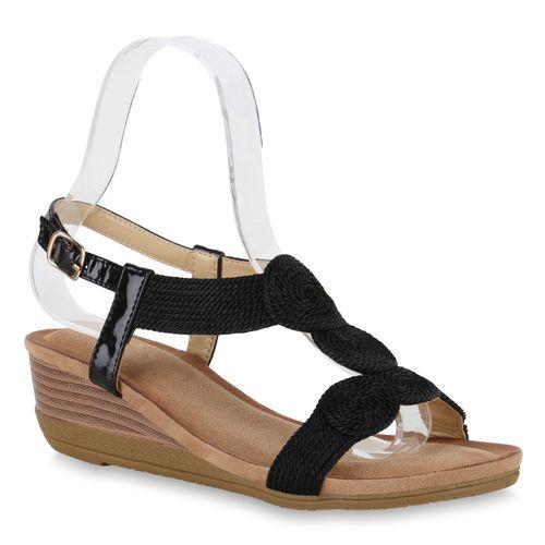 Damen Sandaletten Keilsandaletten - Schwarz
