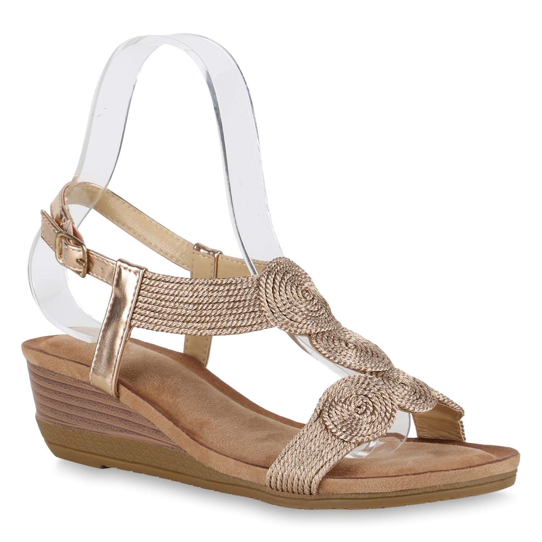 Damen Sandaletten Keilsandaletten - Bronze