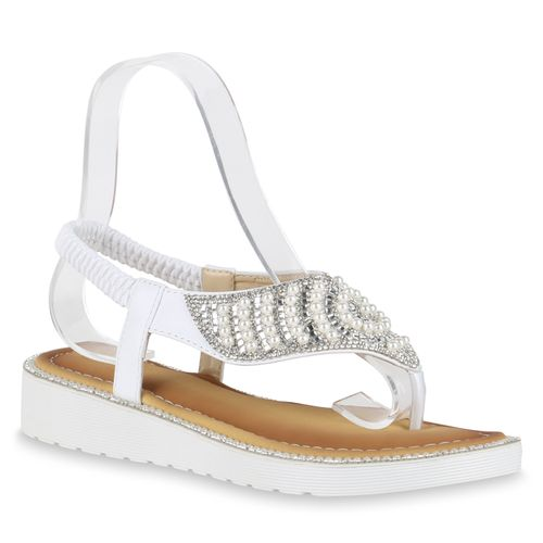 Zehentrenner Sandaletten Zehentrenner Sandaletten Weiß Weiß Damen Damen 1PZHww