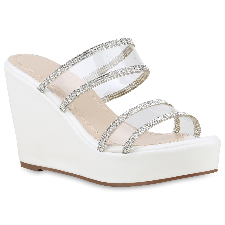Sandalen - Damen Sandaletten Pantoletten Weiß › stiefelparadies.de  - Onlineshop Stiefelparadies