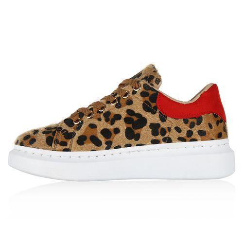 Damen Plateau Sneaker - Rot Leopard