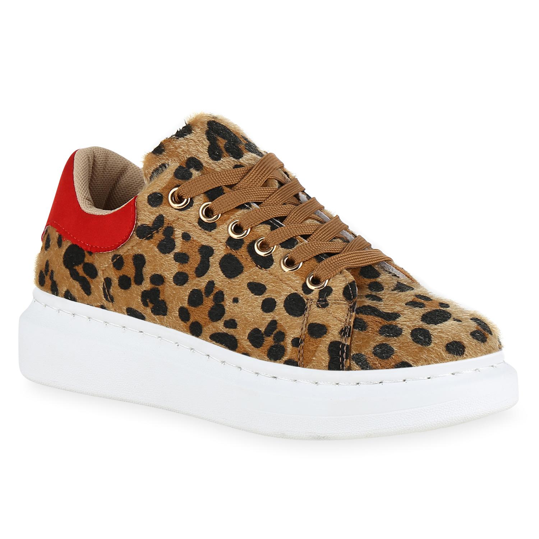 sports shoes c7d24 e15a2 Damen Plateau Sneaker - Rot Leopard