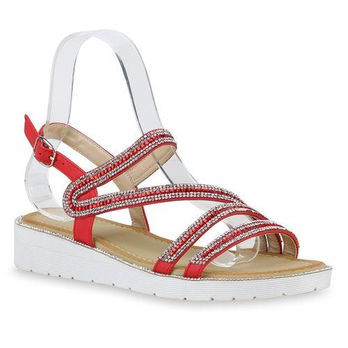 Rot Sandaletten Keilsandaletten Damen Sandaletten Keilsandaletten Damen Sandaletten Rot Damen qwWptC8p