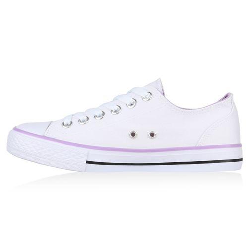 Weiß Sneaker Lila Low Weiß Sneaker Damen Damen Low Ufq5w