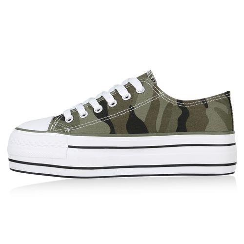 Damen Plateau Sneaker - Camouflage