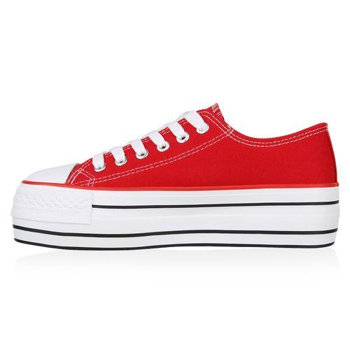 Damen Plateau Sneaker - Rot