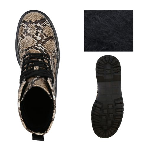 Damen Stiefeletten Plateau Plateau Creme Boots Damen Stiefeletten Boots w44dnBqgW