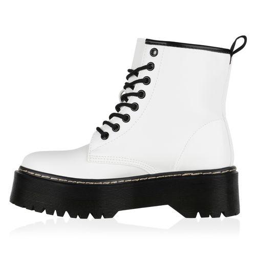 Boots Boots Weiß Plateau Stiefeletten Weiß Damen Stiefeletten Plateau Damen r0wHnAr