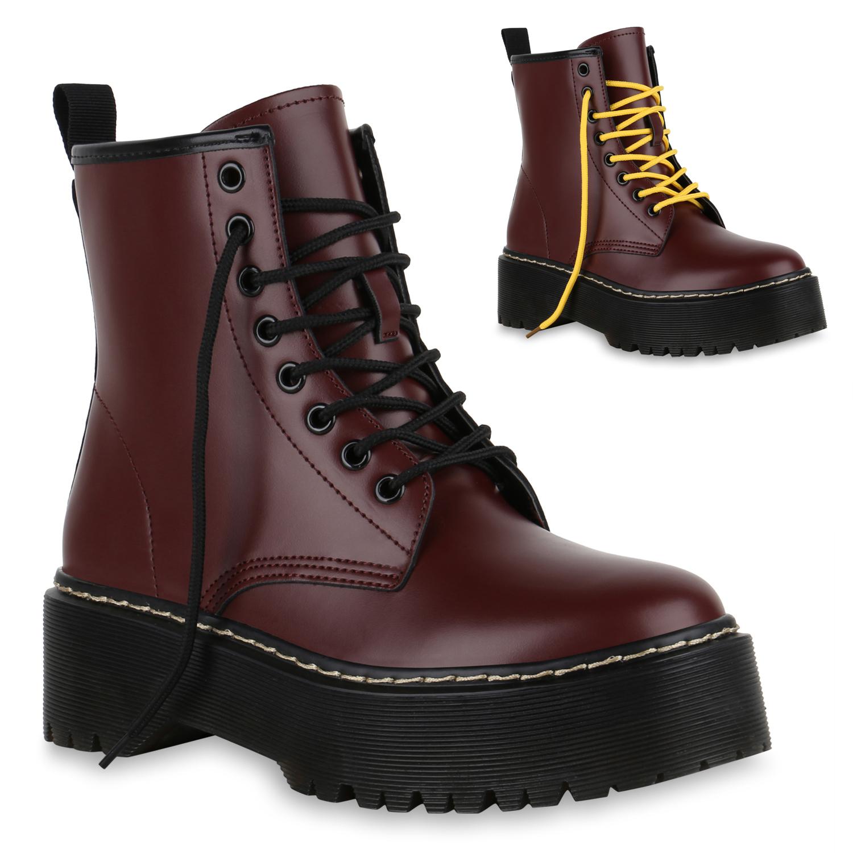 Damen Stiefeletten Plateau Boots - Dunkelrot