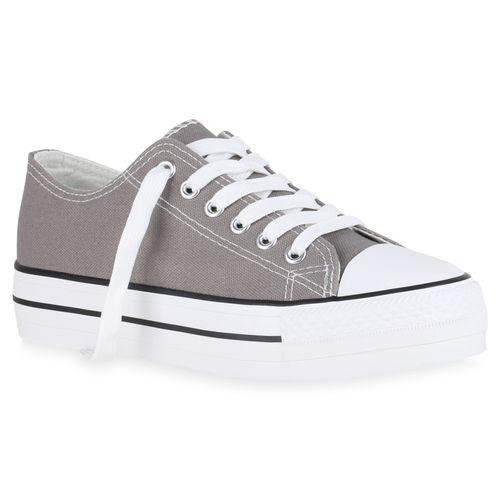 Damen Sneaker Sneaker Grau Grau Plateau Damen Plateau rTqErwzR