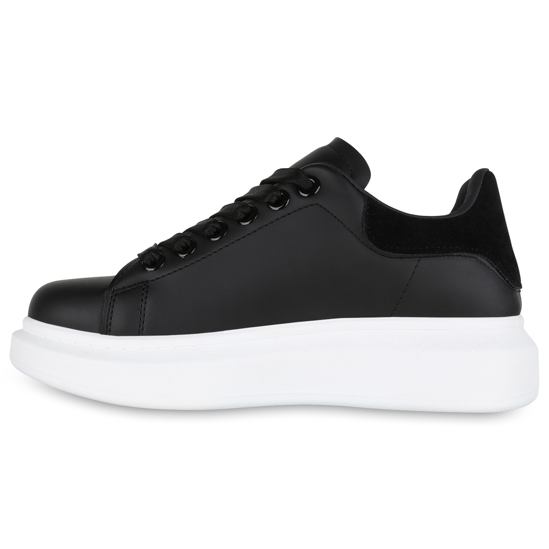 7eb6ba7d556c03 Damen Plateau Sneaker Turnschuhe Schnürer Leder-Optik Plateauschuh 825900  Schuhe