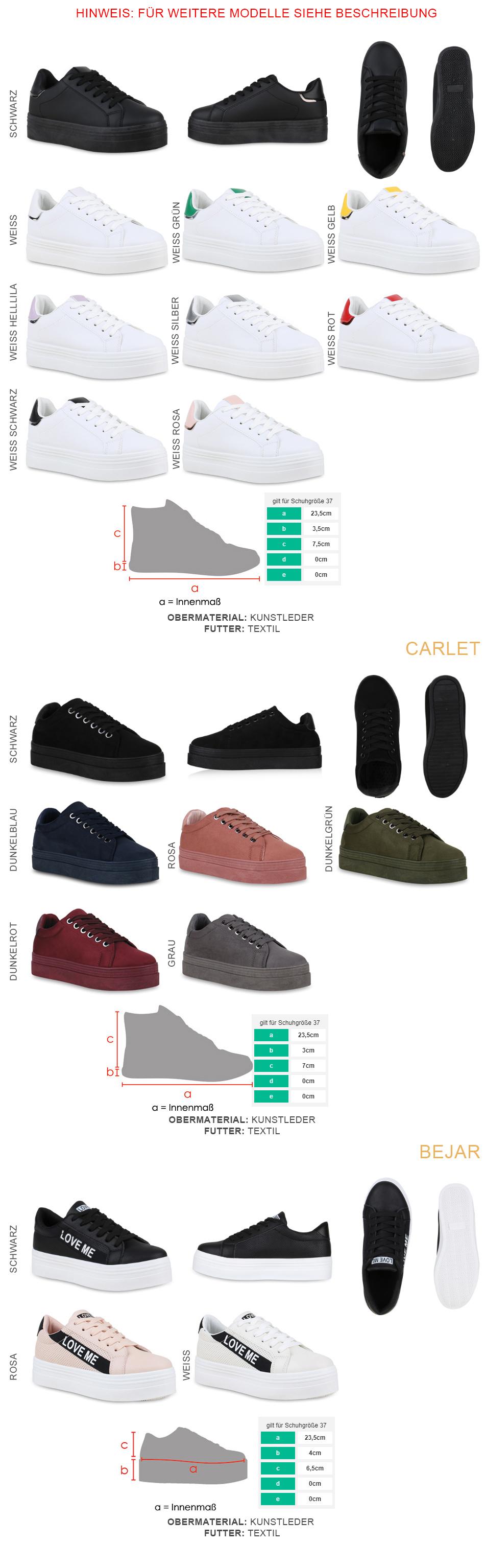 Damen Plateau Sneaker Turnschuhe Schnürer Metallic Plateauschuhe 825902 Trendy