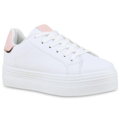 Damen Plateau Sneaker - Weiß Rosa