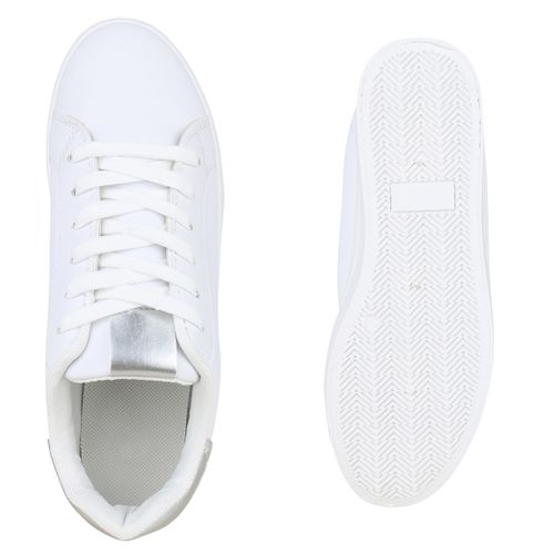 Damen Plateau Sneaker - Weiß Silber