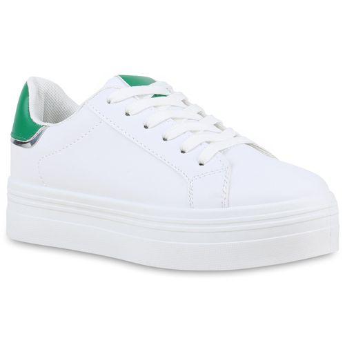 Damen Damen Sneaker Weiß Plateau Grün Plateau P1wvvqx8p