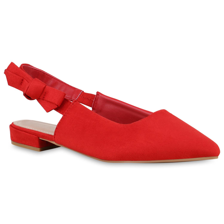 Damen Sling Ballerinas - Rot