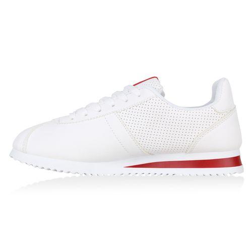 Sneaker Damen Damen Sneaker Low Weiß Rot qSTx7H
