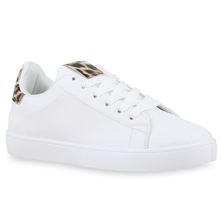 Sneakers - Damen Sneaker low Weiß Leopard › stiefelparadies.de  - Onlineshop Stiefelparadies