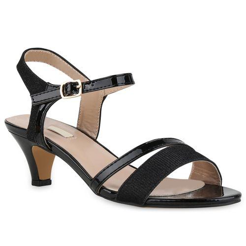 Damen Sandaletten Riemchensandaletten Schwarz