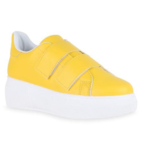 Damen Plateau Sneaker Gelb