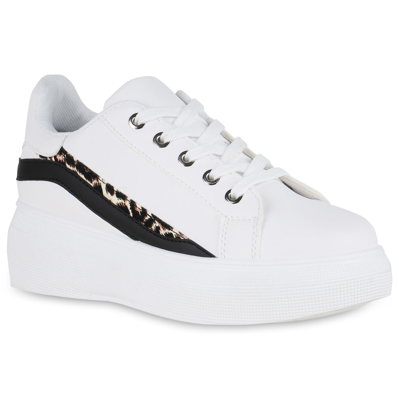Sneakers für Frauen - Damen Plateau Sneaker Weiß › stiefelpardies.de  - Onlineshop Stiefelparadies