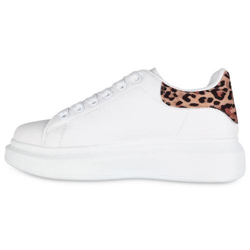 Damen Plateau Sneaker - Weiß Leopard