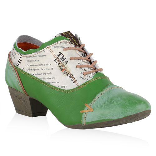 Damen Stiefeletten Ankle Boots - Grün