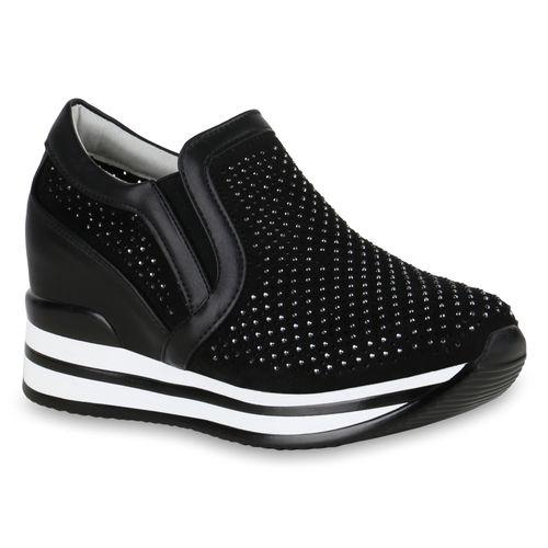 Schwarz Damen Damen Wedges Sneaker Sneaker w50qwxI8