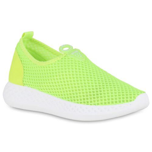 Damen Sportschuhe Slip Ons - Neongrün