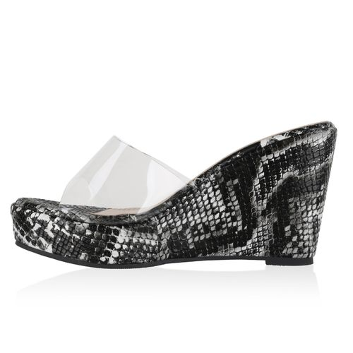 Sandaletten Weiß Pantoletten Snake Damen Schwarz wZBOpBqx