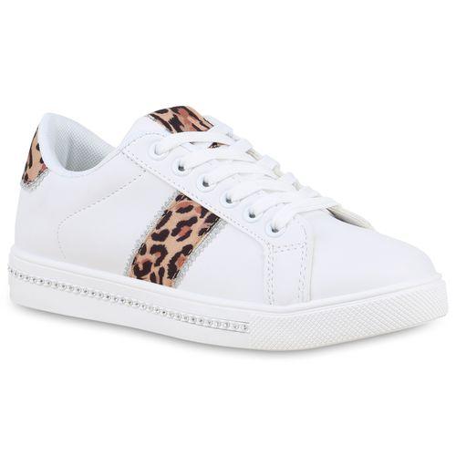 Sneaker Low Sneaker Low Low Weiß Sneaker Weiß Damen Leopard Damen Leopard Damen xzqp8WOX