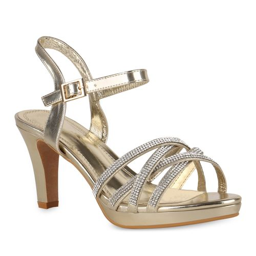 Damen Sandaletten Riemchensandaletten - Gold
