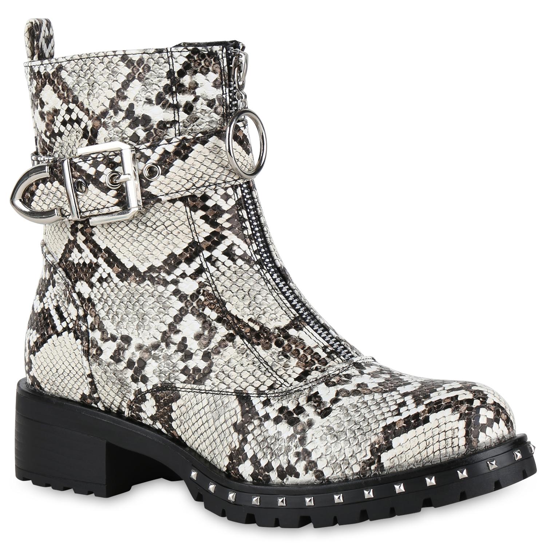 Snake Damen Biker Stiefeletten Creme Boots 8nw0OkP