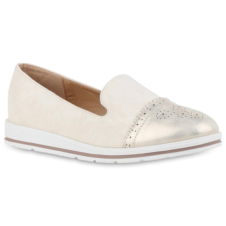 Slipper - Damen Slippers Loafers Creme › stiefelparadies.de  - Onlineshop Stiefelparadies