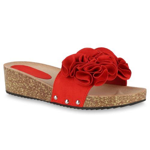 Damen Sandaletten Pantoletten Sandaletten Pantoletten Damen Damen Rot Rot PPq8BvZ