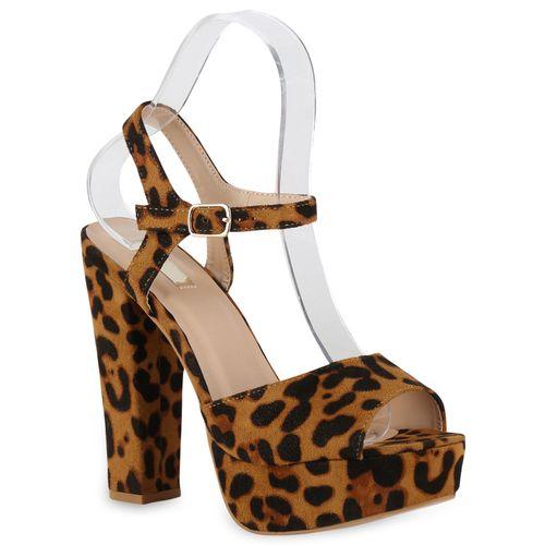 Sandaletten Leopard Damen Plateau Damen Plateau 8qgw1t