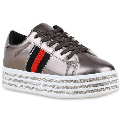 Grau Damen Plateau Plateau Metallic Sneaker Damen dznwSCqwIx