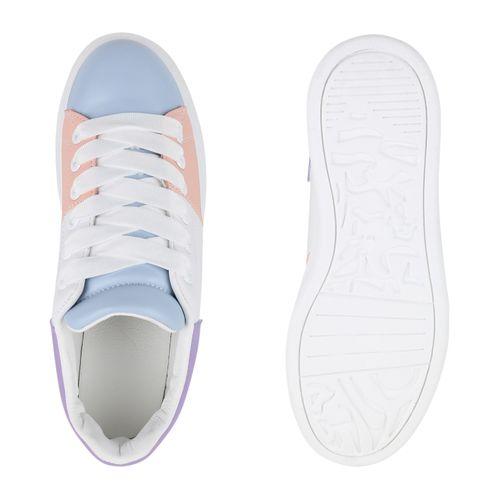 Damen Plateau Hellblau Damen Sneaker Plateau ZZqFwz
