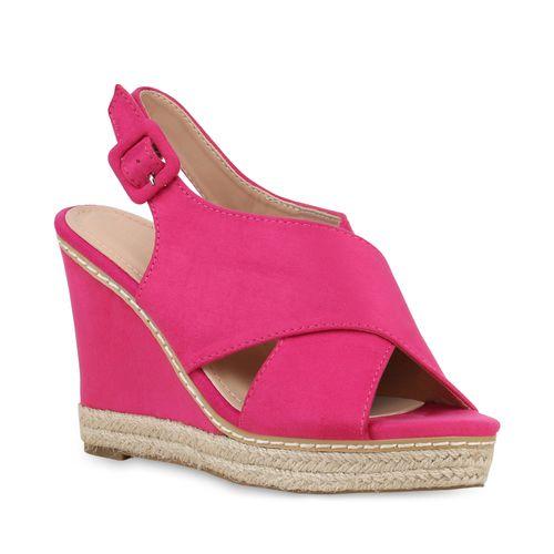 Damen Plateau Sandaletten - Pink