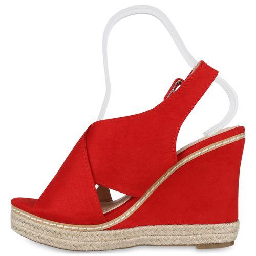 Damen Plateau Sandaletten - Rot