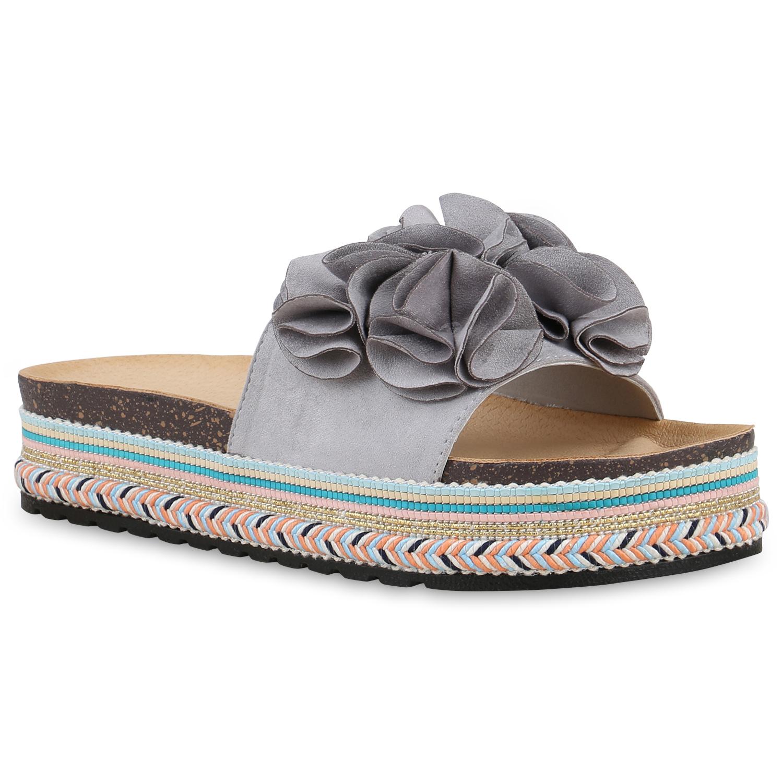 Damen Sandaletten Pantoletten - Grau