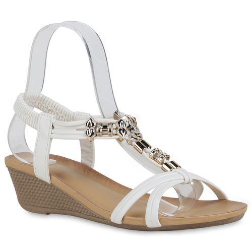 Sandaletten Damen Damen Keilsandaletten Sandaletten Weiß 8Trd4n8x