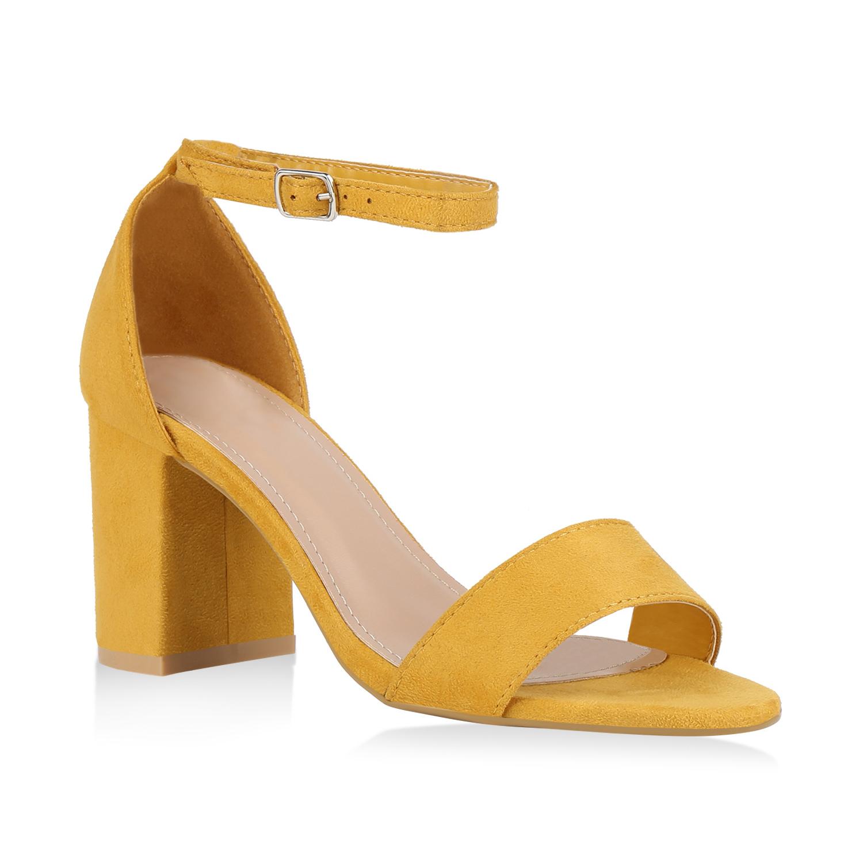 Damen Sandaletten Riemchensandaletten - Gelb