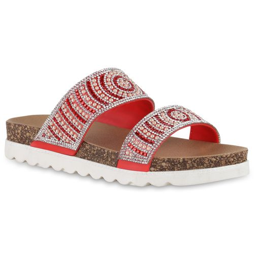 Rot Sandaletten Damen Damen Pantoletten Sandaletten Y7nSxHvY