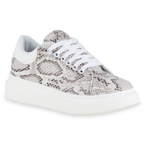 Damen Plateau Sneaker - Braun Snake Weiß