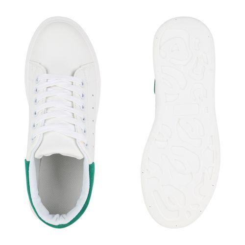 Damen Plateau Sneaker - Weiß Grün